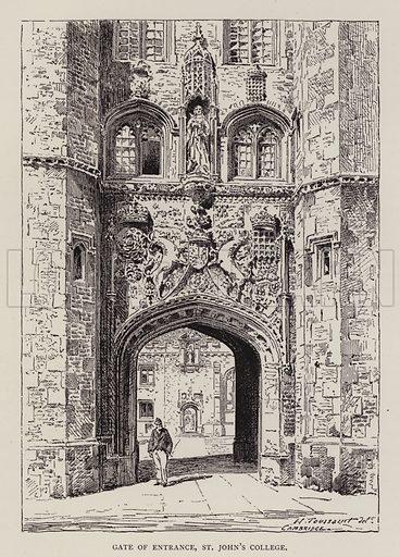 Gate of Entrance, St John's College. Illustration for Cambridge by J W Clark (Seeley Jackson and Halliday, 1881).