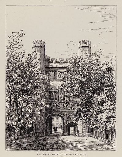 The Great Gate of Trinity College. Illustration for Cambridge by J W Clark (Seeley Jackson and Halliday, 1881).