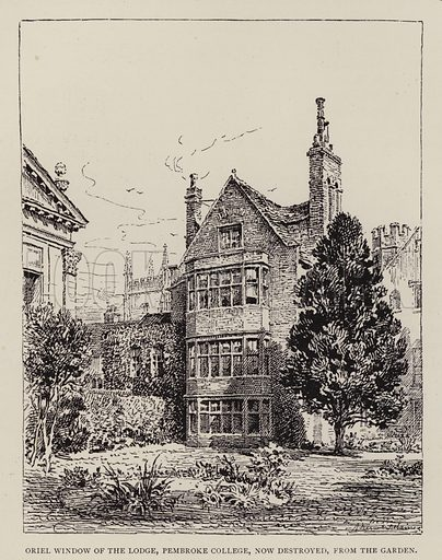 Oriel Window of the Lodge, Pembroke College, now destroyed, from the Garden. Illustration for Cambridge by J W Clark (Seeley Jackson and Halliday, 1881).