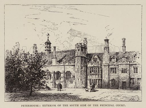 Peterhouse, Exterior of the South Side of the Principal Court. Illustration for Cambridge by J W Clark (Seeley Jackson and Halliday, 1881).