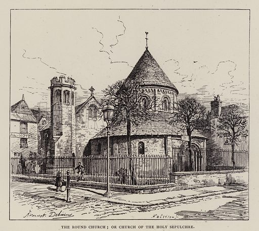 The Round Church; or Church of the Holy Sepulchre. Illustration for Cambridge by J W Clark (Seeley Jackson and Halliday, 1881).