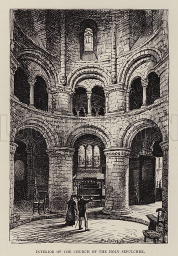 Interior of the Church of the Holy Sepulchre. Illustration for Cambridge by J W Clark (Seeley Jackson and Halliday, 1881).