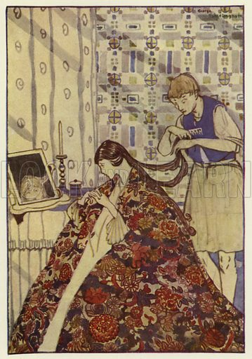 Then he dressed his sister in good clothes, and washed and combed her hair. Illustration for Canadian Wonder Tales by Cyrus Macmillan (John Lane, The Bodley Head, 1918).