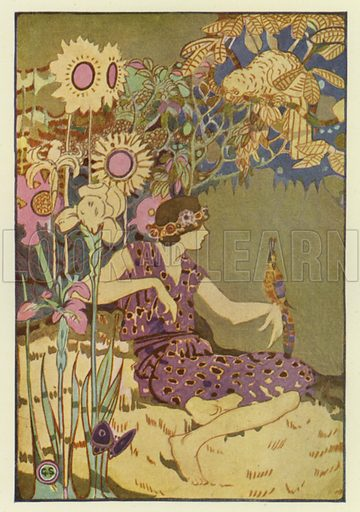 Her name is Summer. Illustration for Canadian Wonder Tales by Cyrus Macmillan (John Lane, The Bodley Head, 1918).