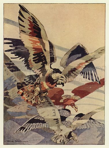 The great eagle made the winds for him. Illustration for Canadian Wonder Tales by Cyrus Macmillan (John Lane, The Bodley Head, 1918).