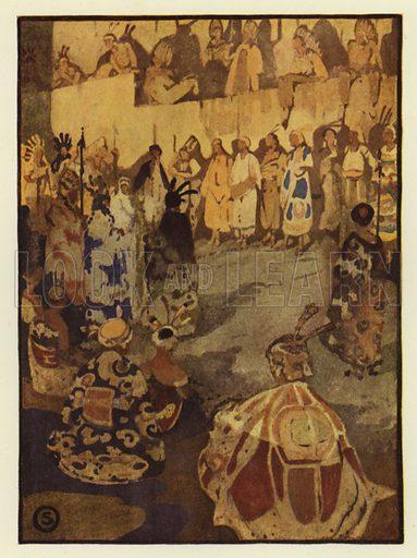 The great court-tent was filled with Glooskap's people for the sun's trial. Illustration for Canadian Wonder Tales by Cyrus Macmillan (John Lane, The Bodley Head, 1918).