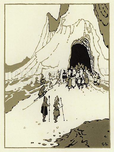 The people set out to find the giants, soon they came to their cave. Illustration for Canadian Wonder Tales by Cyrus Macmillan (John Lane, The Bodley Head, 1918).