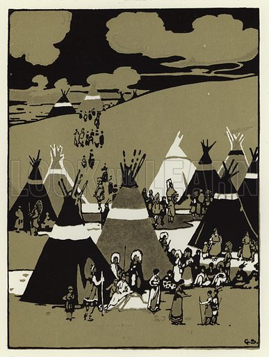 In the evening they came to a camp. Illustration for Canadian Wonder Tales by Cyrus Macmillan (John Lane, The Bodley Head, 1918).