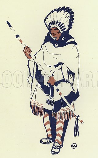 In the tribe was a very handsome young man. Illustration for Canadian Wonder Tales by Cyrus Macmillan (John Lane, The Bodley Head, 1918).