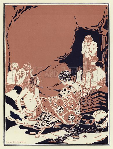 Many women sat around in a circle, all sad and weeping. Illustration for Canadian Wonder Tales by Cyrus Macmillan (John Lane, The Bodley Head, 1918).