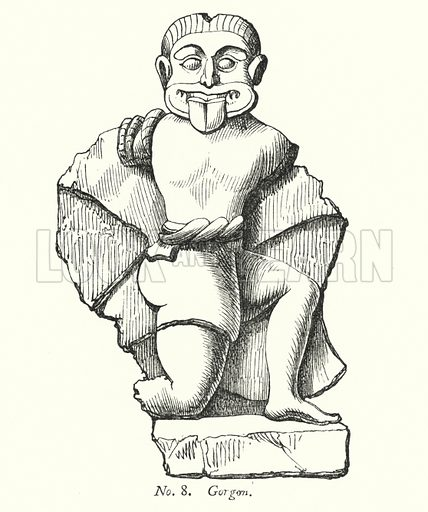 Gorgon. Illustration for A History of Caricature and Grotesque in Literature and Art by Thomas Wright with illustrations from various sources drawn and engraved by F W Fairholt (Virtue, 1865).