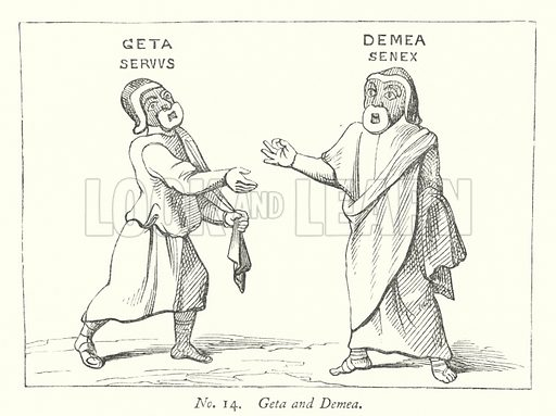 Geta and Demea. Illustration for A History of Caricature and Grotesque in Literature and Art by Thomas Wright with illustrations from various sources drawn and engraved by F W Fairholt (Virtue, 1865).