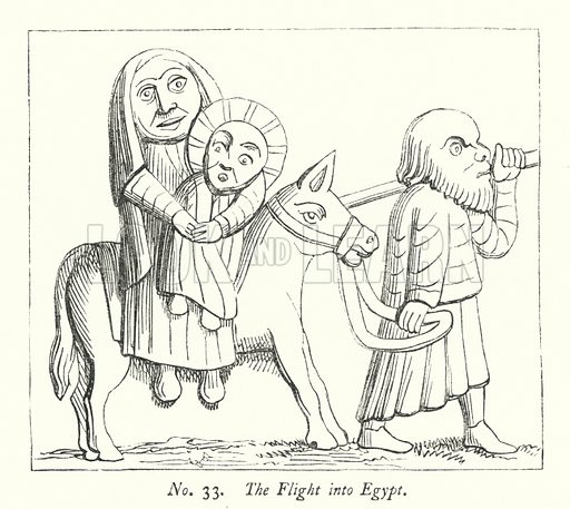 The Flight into Egypt. Illustration for A History of Caricature and Grotesque in Literature and Art by Thomas Wright with illustrations from various sources drawn and engraved by F W Fairholt (Virtue, 1865).