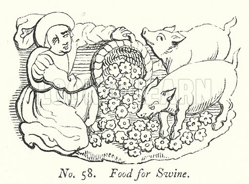 Food for Swine. Illustration for A History of Caricature and Grotesque in Literature and Art by Thomas Wright with illustrations from various sources drawn and engraved by F W Fairholt (Virtue, 1865).
