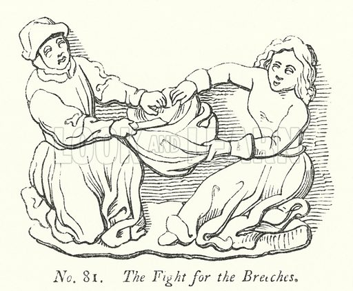 The Fight for the Breeches. Illustration for A History of Caricature and Grotesque in Literature and Art by Thomas Wright with illustrations from various sources drawn and engraved by F W Fairholt (Virtue, 1865).