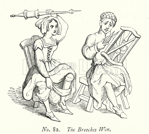 The Breeches Won. Illustration for A History of Caricature and Grotesque in Literature and Art by Thomas Wright with illustrations from various sources drawn and engraved by F W Fairholt (Virtue, 1865).