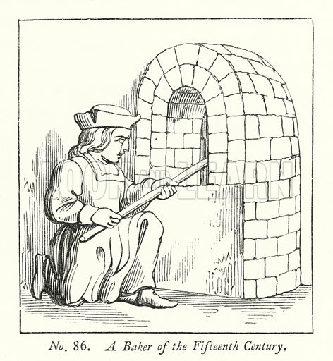 A Baker of the Fifteenth Century. Illustration for A History of Caricature and Grotesque in Literature and Art by Thomas Wright with illustrations from various sources drawn and engraved by F W Fairholt (Virtue, 1865).
