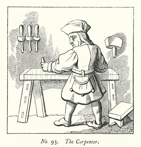 The Carpenter. Illustration for A History of Caricature and Grotesque in Literature and Art by Thomas Wright with illustrations from various sources drawn and engraved by F W Fairholt (Virtue, 1865).