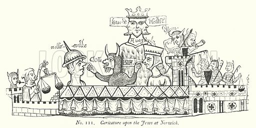 Caricature upon the Jews at Norwich. Illustration for A History of Caricature and Grotesque in Literature and Art by Thomas Wright with illustrations from various sources drawn and engraved by F W Fairholt (Virtue, 1865).