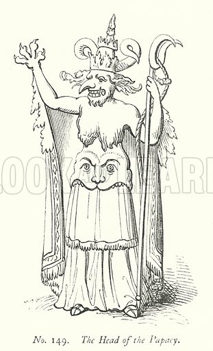 The Head of the Papacy. Illustration for A History of Caricature and Grotesque in Literature and Art by Thomas Wright with illustrations from various sources drawn and engraved by F W Fairholt (Virtue, 1865).