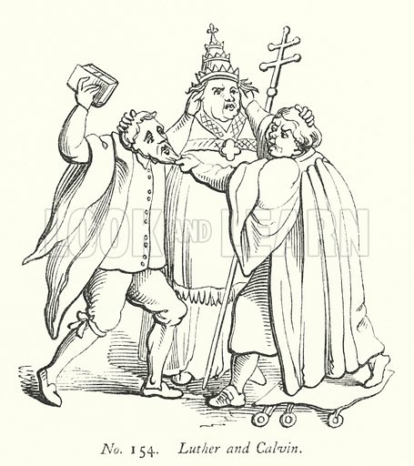 Luther and Calvin. Illustration for A History of Caricature and Grotesque in Literature and Art by Thomas Wright with illustrations from various sources drawn and engraved by F W Fairholt (Virtue, 1865).