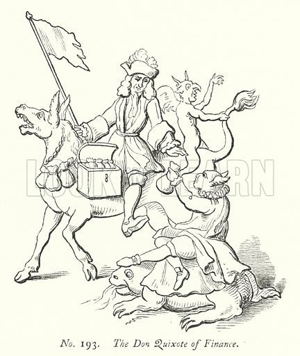 The Don Quixote of Finance. Illustration for A History of Caricature and Grotesque in Literature and Art by Thomas Wright with illustrations from various sources drawn and engraved by F W Fairholt (Virtue, 1865).