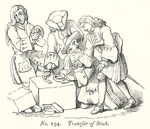 Transfer of Stock. Illustration for A History of Caricature and Grotesque in Literature and Art by Thomas Wright with illustrations from various sources drawn and engraved by F W Fairholt (Virtue, 1865).
