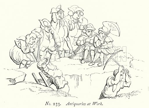 Antiquaries at Work. Illustration for A History of Caricature and Grotesque in Literature and Art by Thomas Wright with illustrations from various sources drawn and engraved by F W Fairholt (Virtue, 1865).
