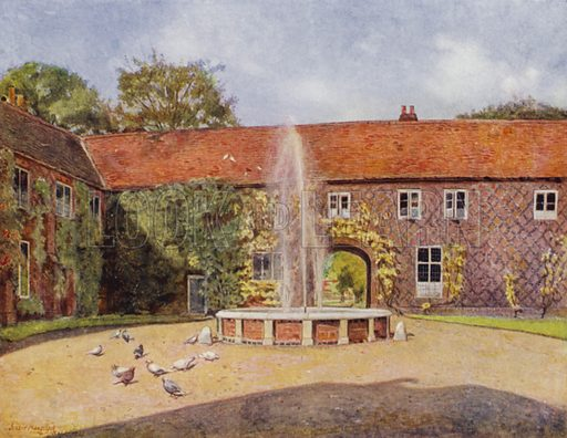 Fulham, The Courtyard. Illustration for Gardens of Celebrities and Celebrated Gardens in and around London by Jessie Macgregor (Hutchinson, c 1918).