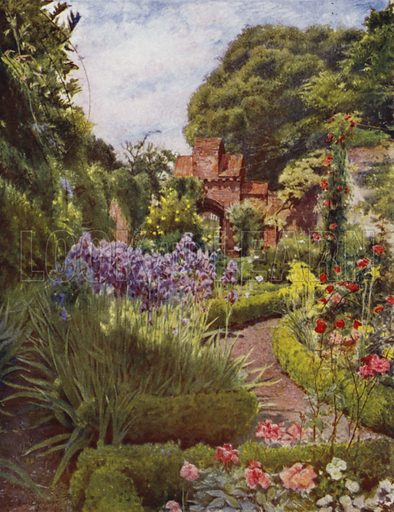 Fulham, Gateway between Walled Garden and Grounds. Illustration for Gardens of Celebrities and Celebrated Gardens in and around London by Jessie Macgregor (Hutchinson, c 1918).