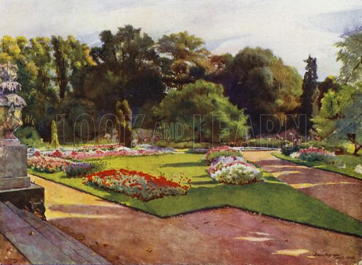 Sion, Looking toward Parterres and Fountain. Illustration for Gardens of Celebrities and Celebrated Gardens in and around London by Jessie Macgregor (Hutchinson, c 1918).