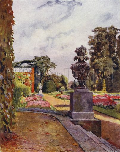 Sion, Looking toward the River Thames. Illustration for Gardens of Celebrities and Celebrated Gardens in and around London by Jessie Macgregor (Hutchinson, c 1918).