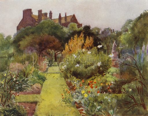 Physicke Garden, Chelsea, View of Garden. Illustration for Gardens of Celebrities and Celebrated Gardens in and around London by Jessie Macgregor (Hutchinson, c 1918).