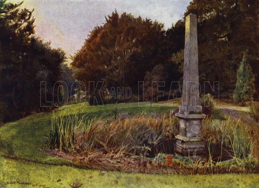 Chiswick House, The Obelisk in the Pool. Illustration for Gardens of Celebrities and Celebrated Gardens in and around London by Jessie Macgregor (Hutchinson, c 1918).