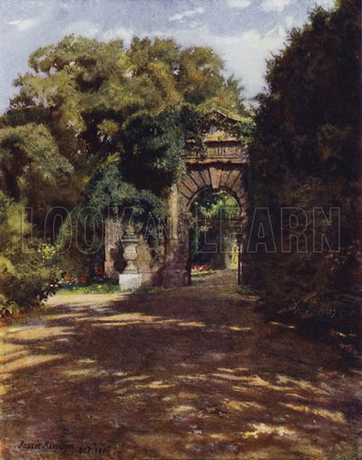 Chiswick House, The Inigo Jones Gateway. Illustration for Gardens of Celebrities and Celebrated Gardens in and around London by Jessie Macgregor (Hutchinson, c 1918).
