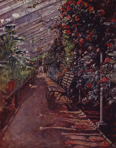 Chiswick House, The Conservatory. Illustration for Gardens of Celebrities and Celebrated Gardens in and around London by Jessie Macgregor (Hutchinson, c 1918).