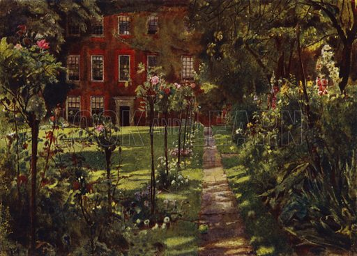 Walpole House, View of House and Garden. Illustration for Gardens of Celebrities and Celebrated Gardens in and around London by Jessie Macgregor (Hutchinson, c 1918).
