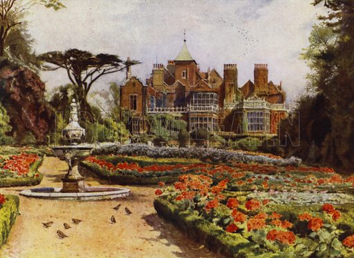 Holland House, The Dutch or West Garden. Illustration for Gardens of Celebrities and Celebrated Gardens in and around London by Jessie Macgregor (Hutchinson, c 1918).