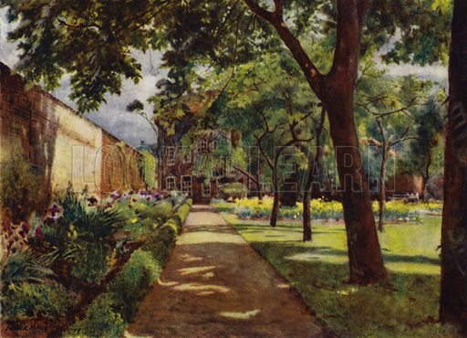 Hogarth House, View of House and Garden. Illustration for Gardens of Celebrities and Celebrated Gardens in and around London by Jessie Macgregor (Hutchinson, c 1918).