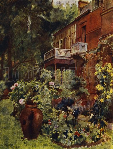 Leighton House, The Studio Balcony, from Garden. Illustration for Gardens of Celebrities and Celebrated Gardens in and around London by Jessie Macgregor (Hutchinson, c 1918).