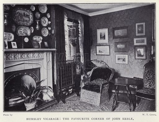 Hursley Vicarage, the favourite corner of John Keble. Illustration for Charlotte Mary Yonge An Appreciation by Ethel Romanes (A R Mowbray, 1908).  Charlotte Mary Yonge (1823–1901) was an English novelist whose work helped spread the influence of the Oxford Movement.
