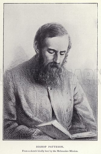 Bishop Patteson. Illustration for Charlotte Mary Yonge An Appreciation by Ethel Romanes (A R Mowbray, 1908).  Charlotte Mary Yonge (1823–1901) was an English novelist whose work helped spread the influence of the Oxford Movement.