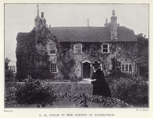 C M Yonge in her garden at Elderfield. Illustration for Charlotte Mary Yonge An Appreciation by Ethel Romanes (A R Mowbray, 1908).  Charlotte Mary Yonge (1823–1901) was an English novelist whose work helped spread the influence of the Oxford Movement.