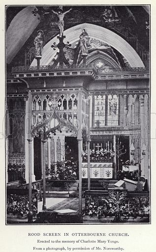 Rood screen in Otterbourne Church. Illustration for Charlotte Mary Yonge An Appreciation by Ethel Romanes (A R Mowbray, 1908).  Charlotte Mary Yonge (1823–1901) was an English novelist whose work helped spread the influence of the Oxford Movement.