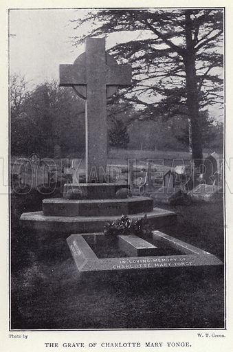 The grave of Charlotte Mary Yonge. Illustration for Charlotte Mary Yonge An Appreciation by Ethel Romanes (A R Mowbray, 1908).  Charlotte Mary Yonge (1823–1901) was an English novelist whose work helped spread the influence of the Oxford Movement.