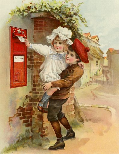 The Village Letter-Box. Illustration for Chatterbox (1901). Publication made up mainly of earlier illustrations.