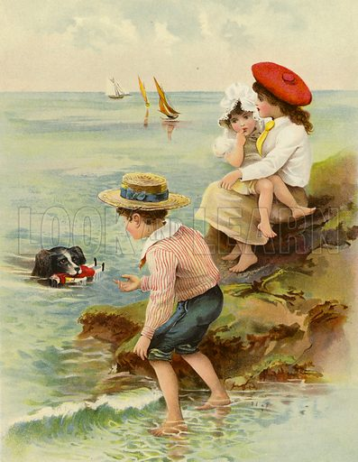 Saved from the Sea. Illustration for Chatterbox (1901). Publication made up mainly of earlier illustrations.