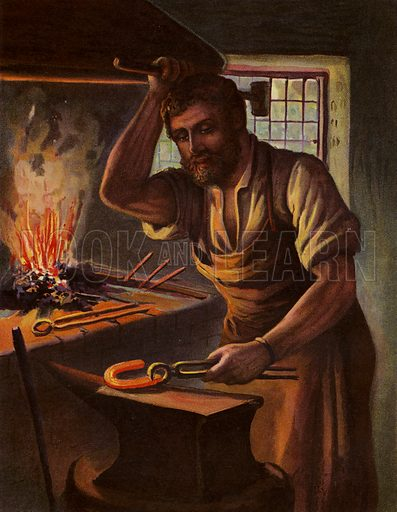 The Village Blacksmith. Illustration for Chatterbox (1901). Publication made up mainly of earlier illustrations.