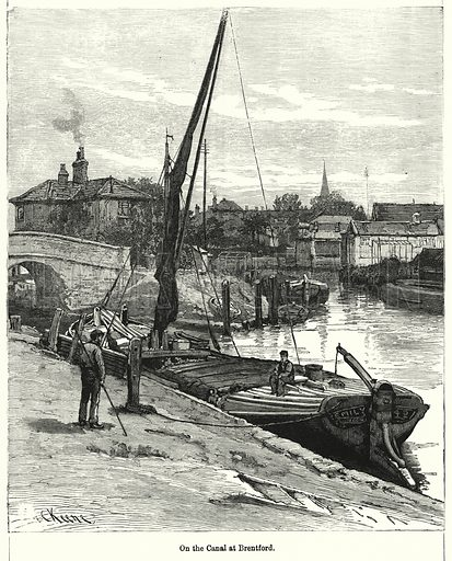 On the Canal at Brentford. Illustration for Chatterbox (1901). Publication made up mainly of earlier illustrations.