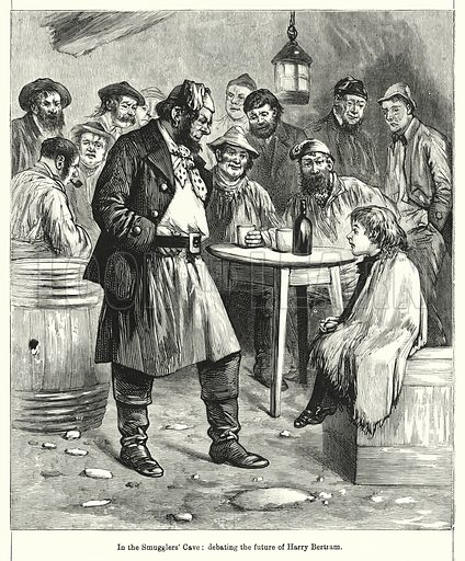 In the Smugglers' Cave, debating the future of Harry Bertram. Illustration for Chatterbox (1901). Publication made up mainly of earlier illustrations.